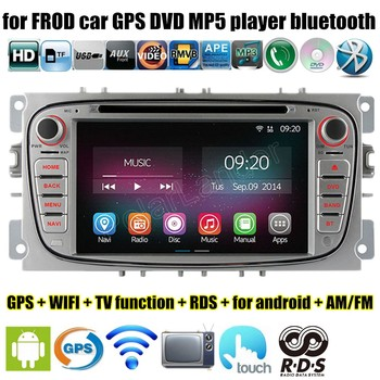 2 Din 7 Inç Car DVD Player için Android 4.4 4 Için Ford Focus Mondeo, S-max C-max 2007 2008 2009 2010 2011 Wifi GPS radyo 43429