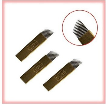 20pcs =1box 12 pin/14pin stainless steel curved eyebrow tattoo needle float blade Disposable tattoo supply 56820