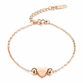 Fate Love Elegant Love Forever Bracelet For Women Heart And Bead Design Silver / Rose Gold Color Link Chain Bohemia Jewelry 821 55506