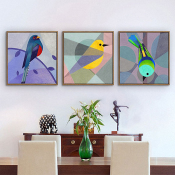 HAOCHU Nordic Creative Bird Decorative Painting Modern Living Room Bedroom Restaurant Cafe Sofa Background Wall Paintings Poster 16438