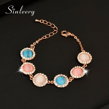 SINLEERY 2017 New Elegant Round Opal Stone Bracelets Bangle For Women Rose Gold Color Chain Fashion Jewelry Sl197 43760