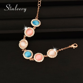 SINLEERY 2017 New Elegant Round Opal Stone Bracelets Bangle For Women Rose Gold Color Chain Fashion Jewelry Sl197