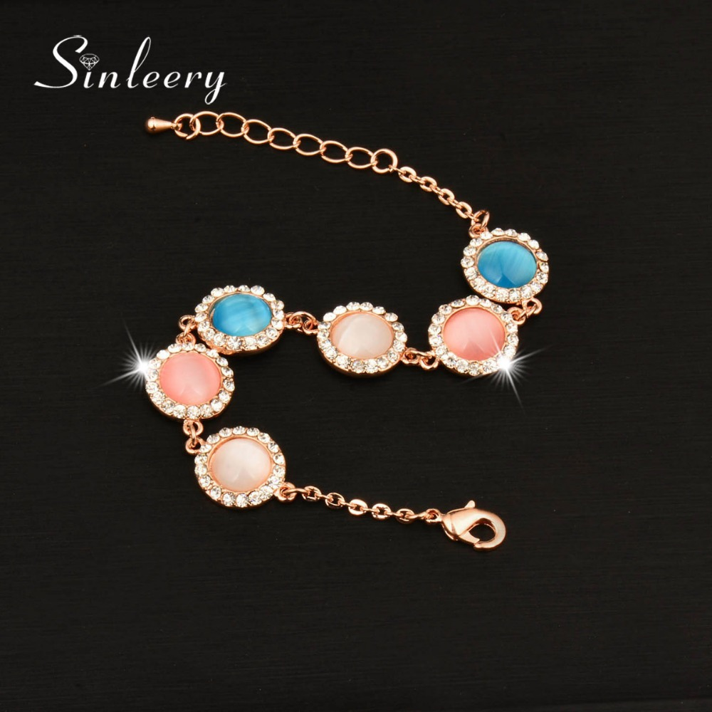SINLEERY 2017 New Elegant Round Opal Stone Bracelets Bangle For Women Rose Gold Color Chain Fashion Jewelry Sl197 2