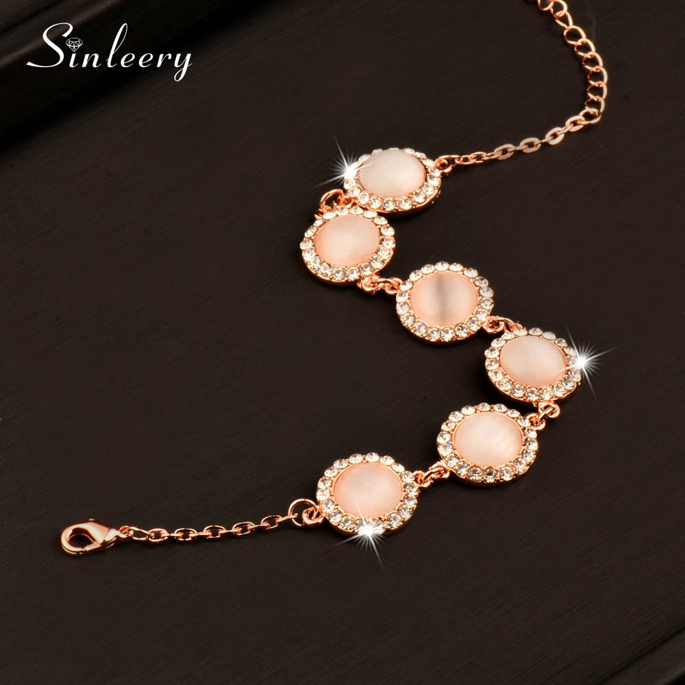 SINLEERY 2017 New Elegant Round Opal Stone Bracelets Bangle For Women Rose Gold Color Chain Fashion Jewelry Sl197 4