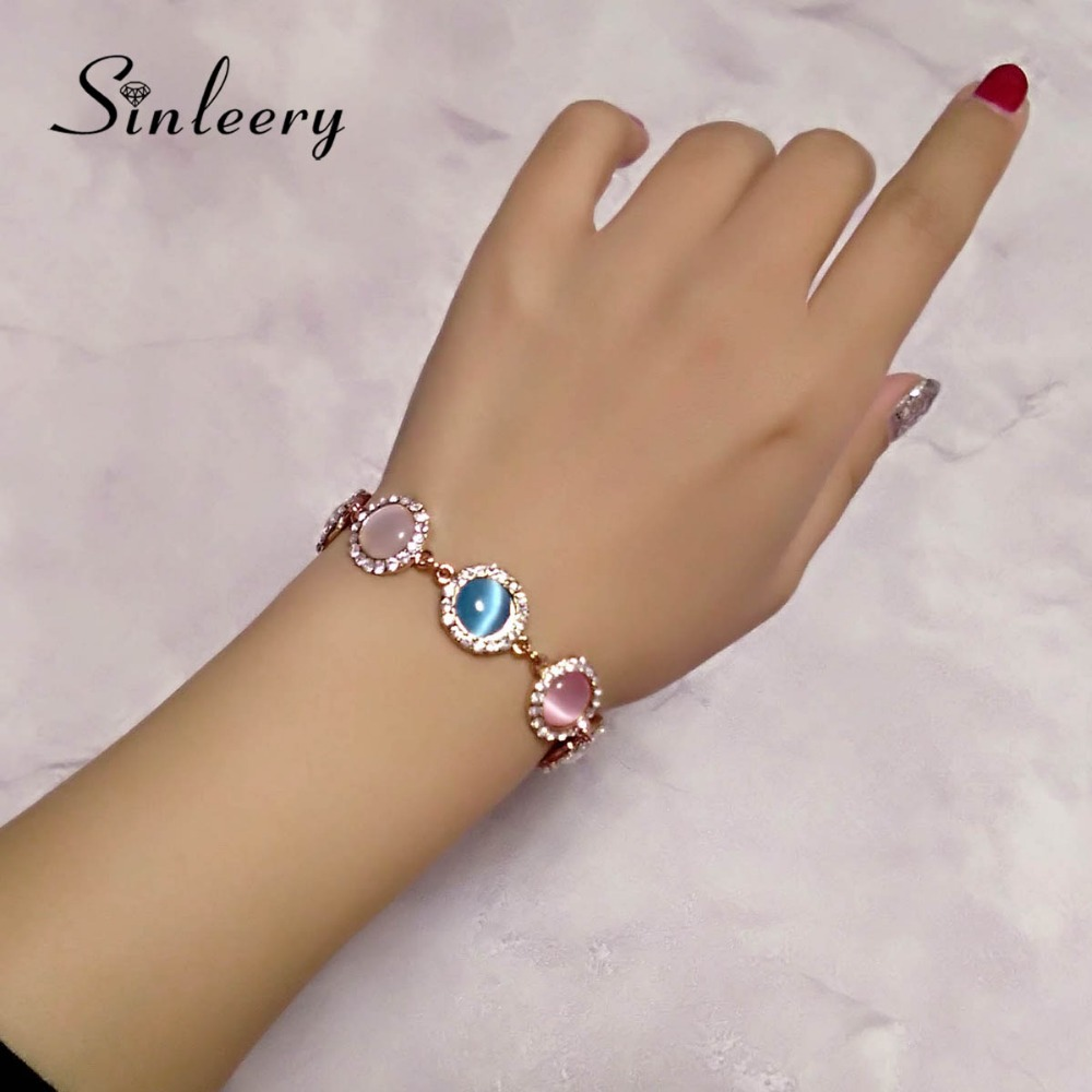 SINLEERY 2017 New Elegant Round Opal Stone Bracelets Bangle For Women Rose Gold Color Chain Fashion Jewelry Sl197 5